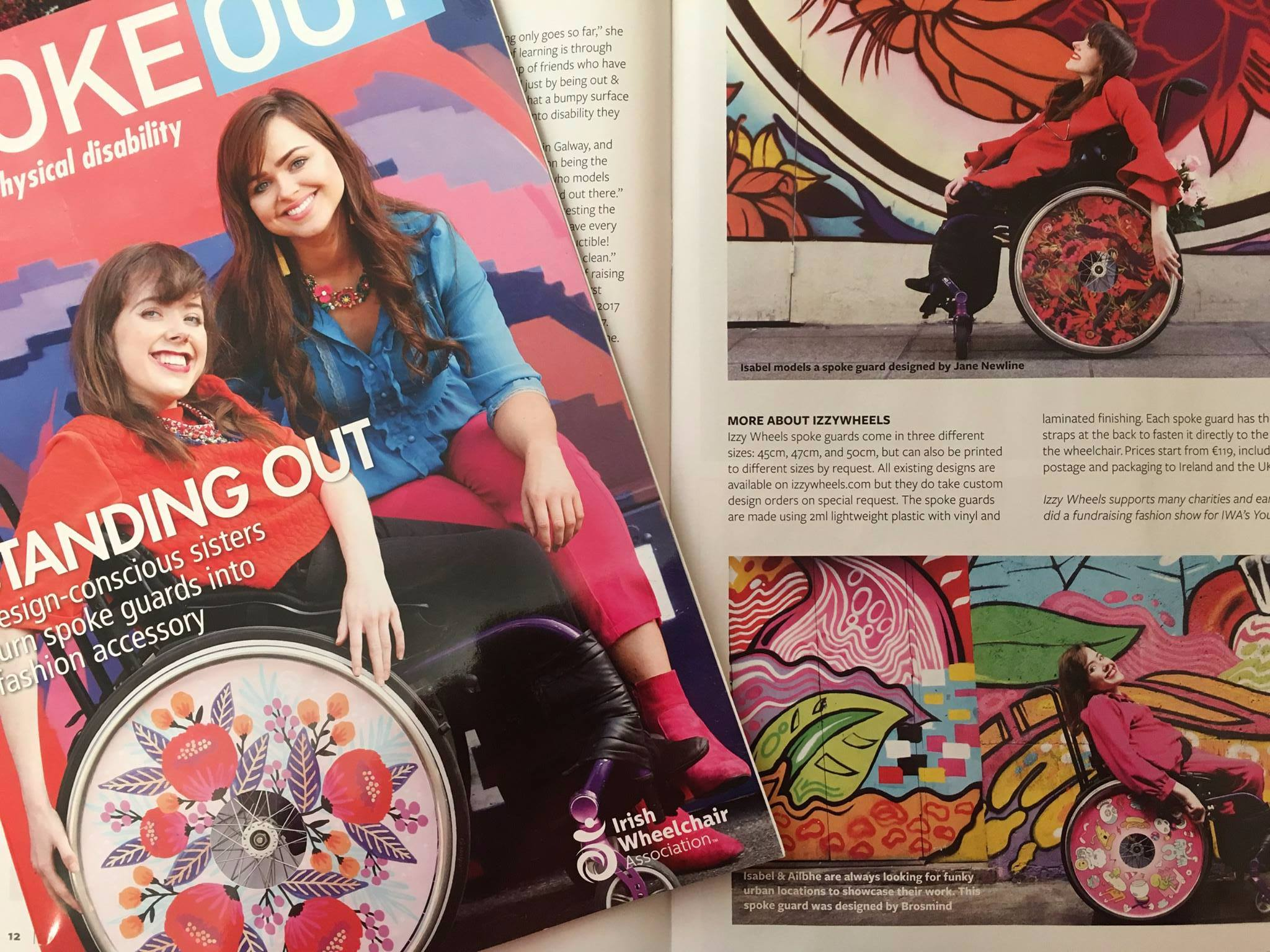 Ailbhe and Izzy on the cover of SpokeOut magazine by the Irish Wheelchair Association.